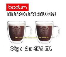 BODUM STARBUCKS NEW LOGO BISTRO DOUBLE WALL JUMBO GLASSES MUGS CUP x2 16OZ/475ML
