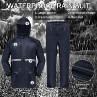 Mens Reflective Waterproof Suit Jacket & Trousers Packaway Rain Set Windproof