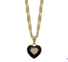 1928 Jewelry Gold-Tone Enamel Heart with Swarovski Crystal Necklace 16 In Adj