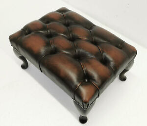 New Rectangular Chesterfield Footstool Antique Brown Leather