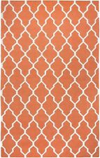 Rizzy Home Swing Orange New Zealand Wool Hand-Woven Dhurrie Accent Rug 5' x 8'
