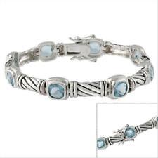 Sterling Silver Designer-Inspired Blue CZ Link Bracelet