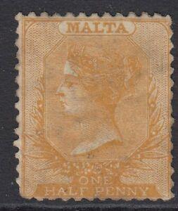 1863 Malta ½d Yellow Orange QV Victoria  A25 Perf 12.5 - SG15 - mint no gum