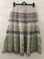Grey Multi Colour Floral Elasticated Waist Boho Hippy Skirt Size M