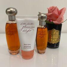RARE Estee Lauder PLEASURES DELIGHT 50ml+30ml EDP Perfume Sprays+Body Lotion SET