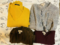 LOT of 3 LOFT Womens Size S Knit and Cotton Long Sleeve Sweater Shirt w/ Gift