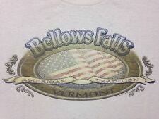 Bellows Falls Vermont Tan Used T-Shirt American Tradition Flag Travel Adventure