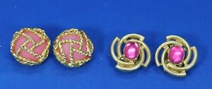 JS3 Lot of 2 PAOLO Earrings Clip on Style Pink Caged Cabochon Gold Tone Setting