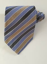 Hugo boss men tie striped blue and beige and gray 100 % silk excellent condition