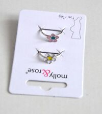 New 2 Pack Silver adjustable toe rings with pink white daisies costume jewellery