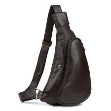 Men Coffee Real Bull Leather Sport Cross Body Backpack Sling Messenger Chest Bag