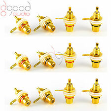 12 x Gold Plated RCA Phono Sockets 6 Red 6 Black Audio / Video Solder Connector