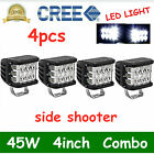 4x45w 4inch Work Cube Side Shooter Led Light Combo Bumper Driving Fogs Pod 4x4wd