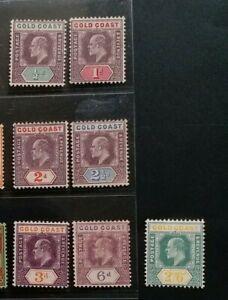 GOLD COAST 1904 KE VII 1/2d to 2s6d SG 49 - 57 Sc 38 - 48 wmk MCCA set 7 MLH