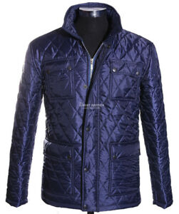 Men's Quilted Jacket Blue Plain Padded Puffer Winter Warm Coat Polyester Jacket