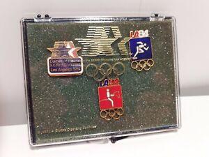 OLYMPIC PIN SET - 1984 LA AND SARAJEVO PINS - EAGLE SAM - In Original box