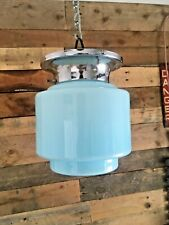 ART DECO BLUE OPALINE GLASS & CHROME ODEON STEPPED CEILING LIGHT WALL LAMP SHADE