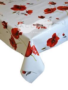 RED POPPY FLOWERS SILVER GREY LEAVES GREEN WHITE PVC PLASTIC VINYL TABLE CLOTH