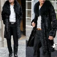Winter Warm Mens Faux Mink Fur Long Jacket Trench Coat Outwear Long Parka Jacket