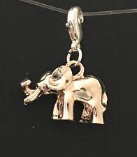 Precioso 3D Oro Rosa Bebé Elefante clip en encanto-Rose oro y plata plateado