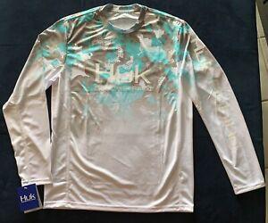 Huk Performance Fishing Long Sleeve Shirt Size Large White camo (Aqua/grey)