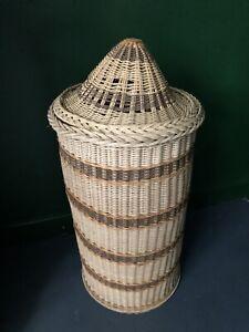 Vintage Laundry Hamper Storage Basket  Tall Round Lidded Wicker Woven Rattan