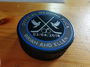 Wedding favour, proposal, gift, Centre piece ice hockey Puck gift, EIHL, NHL