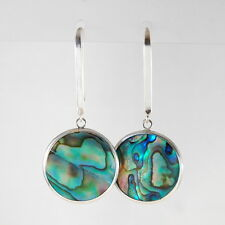925 Sterling Silver Round Abalone Shell Framed Long Hook Drop Dangle Earrings