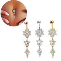 button gold bauch blume nabel - ring body piercing schnee crystal