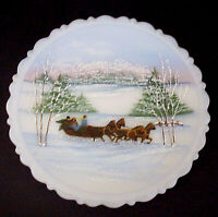 Fenton Glass Christmas At Home Sleigh Ride Plate 1st In Series 1990 Mint In Box
