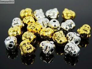 Solid Metal Happy Buddha Head Bracelet Connector Charm Beads Tibetan Silver Gold
