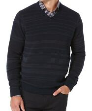 Perry Ellis Men's Big and Tall Striped V-Neck Sweater Pullover Dark Navy Sz 4XL