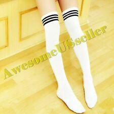 Stockings Socks Knee Cotton Thigh-Highs Stripped Thick Plus Size Women Men Gifts