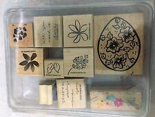 Stampin Up Flower Floral Egg 10 Lot Set Rubber Stamp Craft Scrapbook Tool #DB*