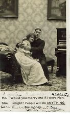 VINTAGE POSTCARD. WOULD YOU MARRY ME IF I WERE RICH. 1907.