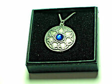 Celtic Interwoven design Pewter Pendant with Blue Gem. BOXED Viking,  Norse