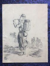 Dessin ancien crayon Uniforme militaire soldat XIX ème signé J. Vaison