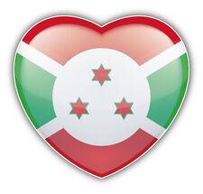 Burundi Flag Glossy Heart Car Bumper Sticker Decal 5'' x 5''