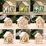 LED Flash Light Wood House Christmas Tree Hanging Ornaments DIY Kits
