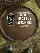 Wooden Barrel Head Guiness Wall Sign