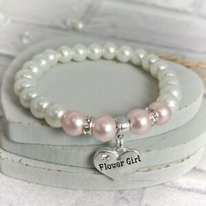 Flower Girl Bracelet, Wedding Thank you, Colour Choice, Beaded Elasticated Gift