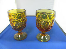 TWO L.E. SMITH MOON AND STARS AMBER WATER GOBLETS/GLASSES 6 INCHES IN HEIGHT