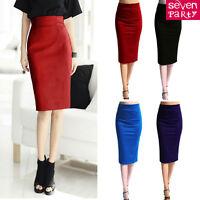 Womens Ladies Plain Office Stretch Bodycon Dress Midi Pencil Tube Skirt Mini