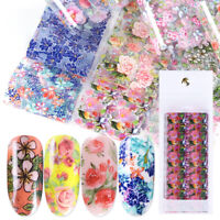 10Pcs/Set Nail Art Foils Flower Design Transfer Decals for Nail DIY Decorations