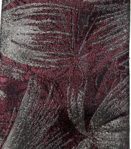 """Oscar de la Renta Studio Mens Necktie Maroon Red Shiny Brown Floral 58"""" x 3.5"""""""