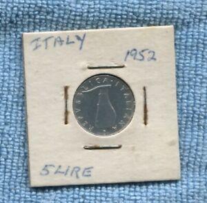 1952 5 Lire Italy  Coin dolphin O-922