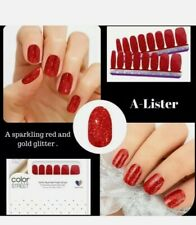 Color Street A-Lister Red Gold Glitter 100% Nail Polish Strips Retired Htf