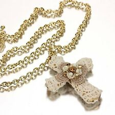 "27"" CROCHET OVERLAY PEARL BEADED CROSS WESTERN COWGIRL GOLD NECKLACE CUTE NEW"