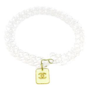 CHANEL CC Logos Plastic Chain Belt Clear 95C Gold-tone Authentic 36918