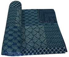 "Indigo Blue Hand Block Print Kantha Quilt Patchwork King Size Bedspread 108"""